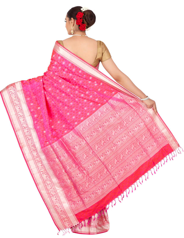 Pink pashmina pure silk saree