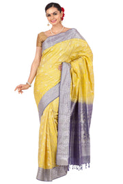 Lemon yellow pasmina pure silk saree | Handloom silk sarees online