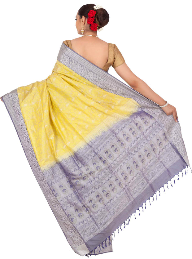 Lemon yellow pasmina pure silk saree