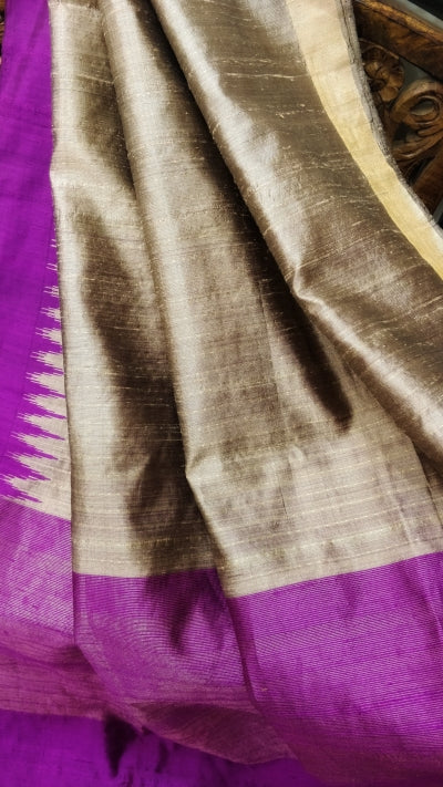 Steel Grey Tussar Silk Saree