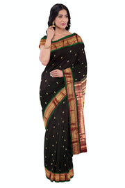 Black pure silk rich pallu paithani