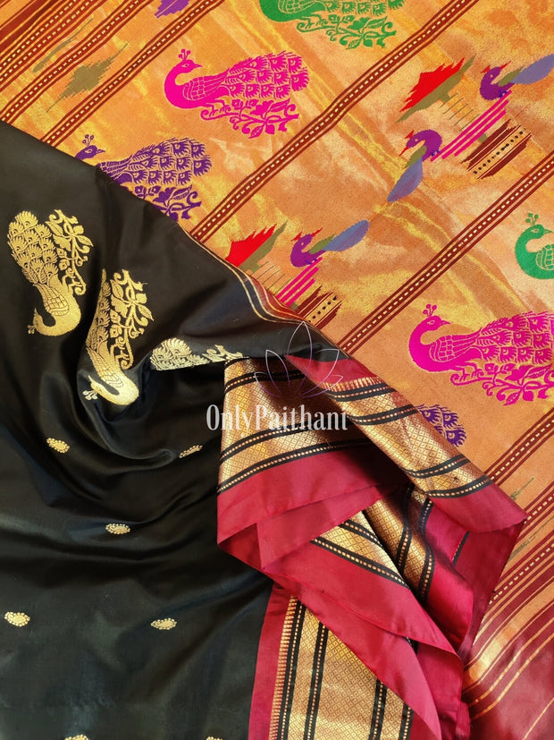 Black rich pallu paithani with maroon border