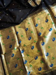 Black rich pallu paithani in pure silk