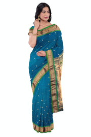 Peacock blue pure silk paithani with rich pallu