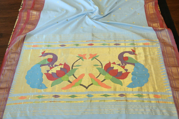 Powder blue rich pallu cotton paithani