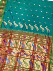 Peacock Blue Pure Silk Rich Pallu Paithani