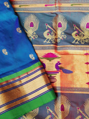 Peacock blue rich pllau silk paithani with green border