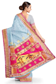 Powder blue rich pallu paithani