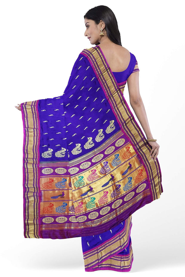 Blue rich pallu paithani with purple border