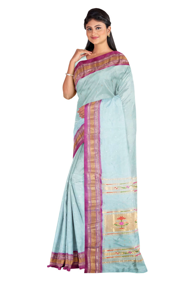 Powder blue rich pallu silk paithani