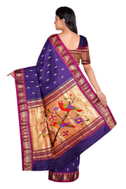 Blue rich pallu paithani with pink border