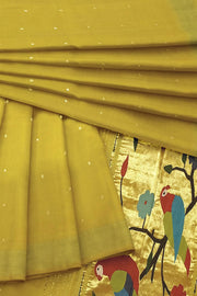 Olive Yellow rich pallu cotton paithani