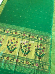 Green rich pallu cotton paithani