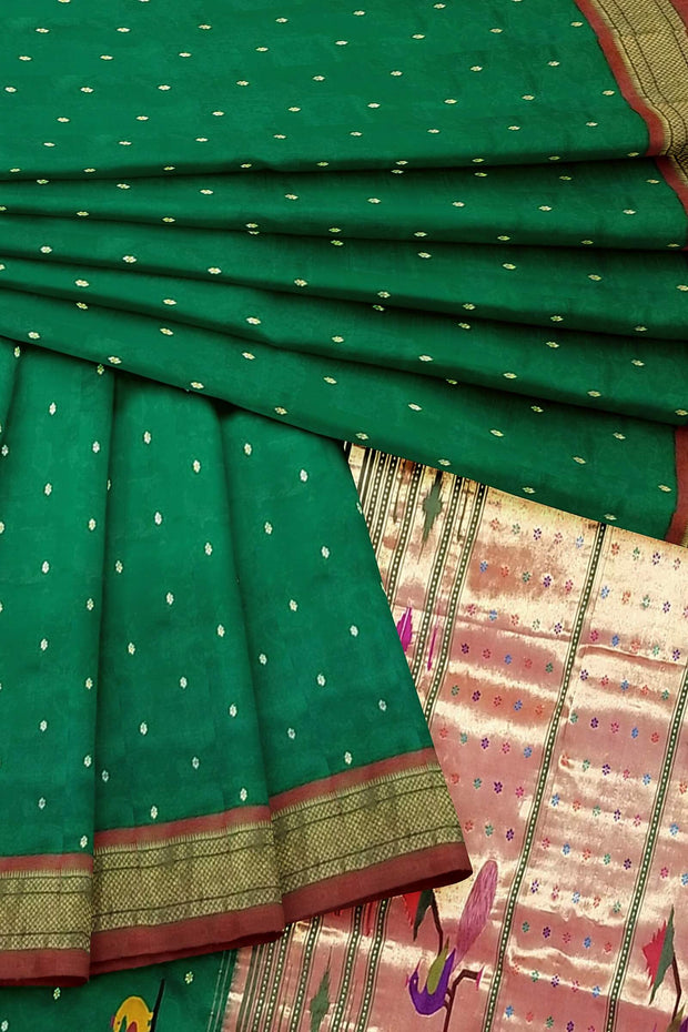 Bottle green rich pallu paithani