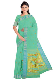 Sea green rich pallu cotton paithani