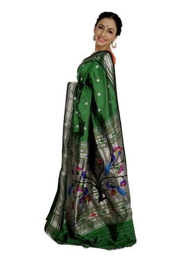 Bottle Green Pure Silk Rich Pallu Paithani