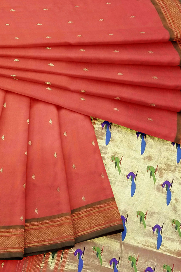 Peach orange rich pallu paithani