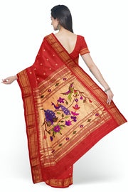 Red paithani with rich pallu