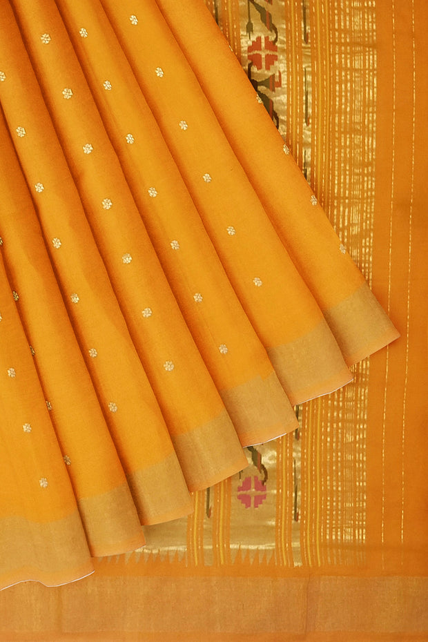 Orange cotton paithani with rich pallu