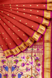 Orange paithani with rich pallu