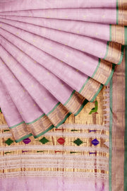 Baby pink paithani with green border