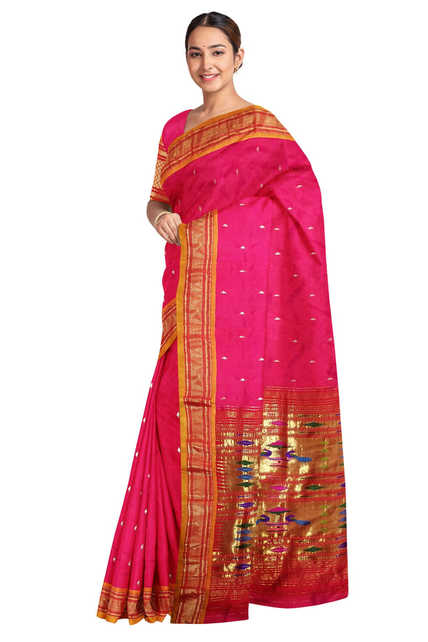 Pink paithani with mustard border