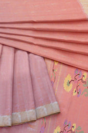 Pink peach rich pallu cotton paithani