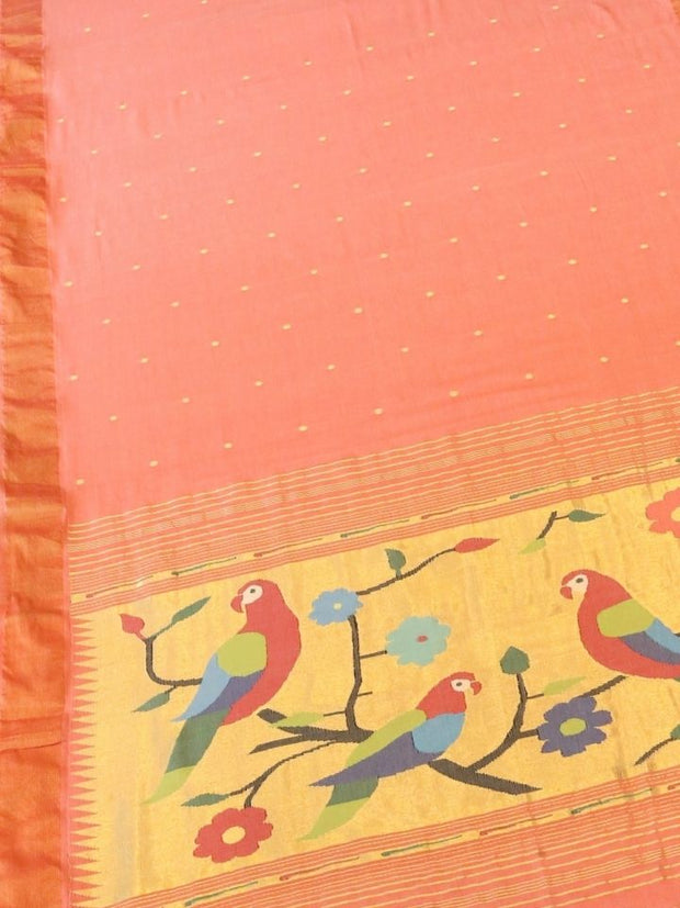 Peach pink rich pallu cotton paithani