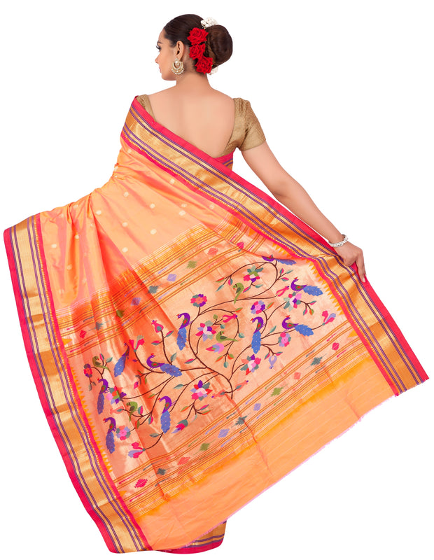 Two tone peach pink paithani with rich pallu