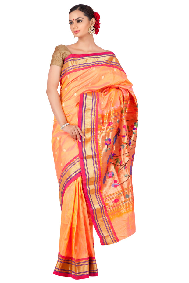 Two tone peach pink paithani