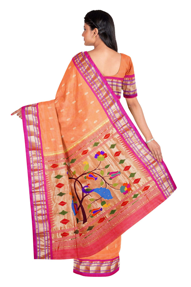 Peach rich pallu pure silk paithani