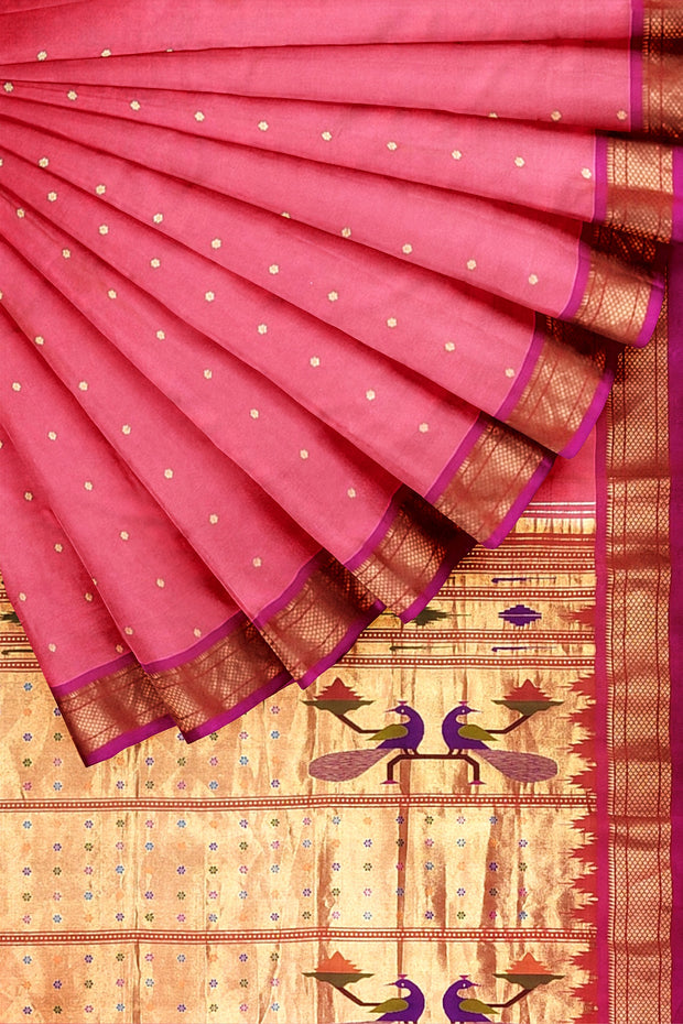 Peach pink paithani with pink border