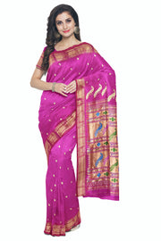 Single color pink rich pallu paithani