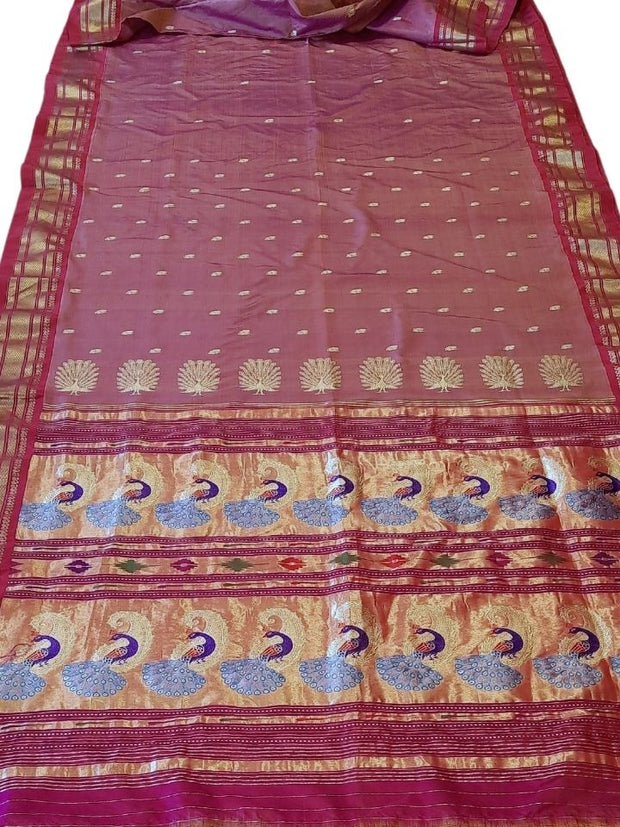Peach pink rich pallu paithani with pink border