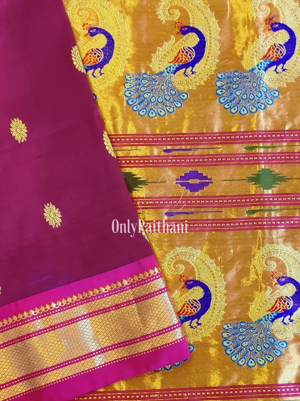 Deep magenta paithan paithani with rich pallu
