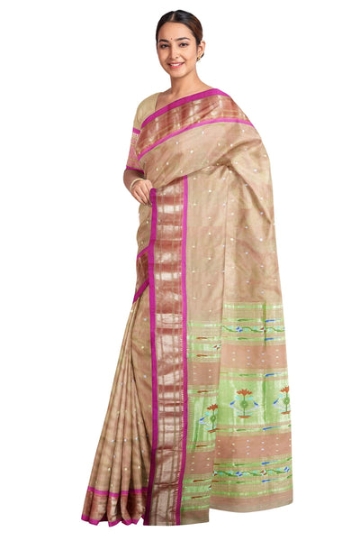 Beige paithani with pink border