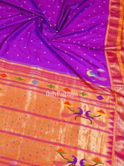 Purple rich pallu paithani with green border