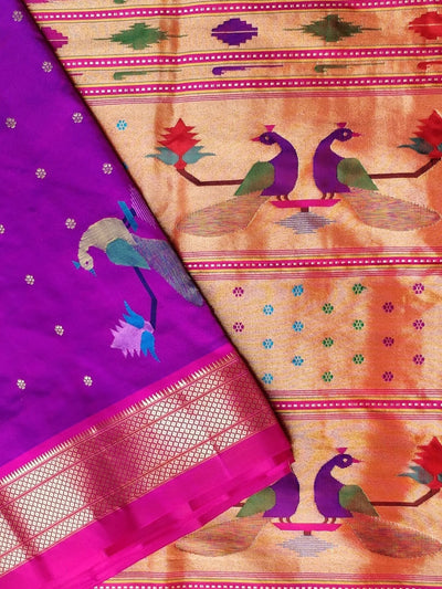 Purple rich pallu silk paithani