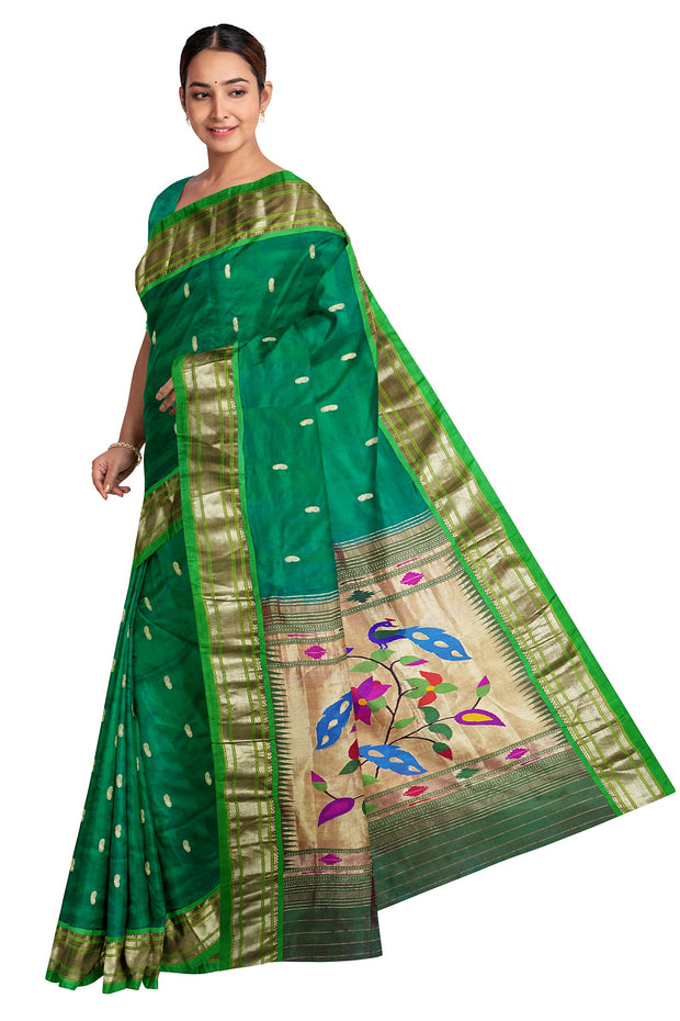 Peacock green paithani with rich pallu