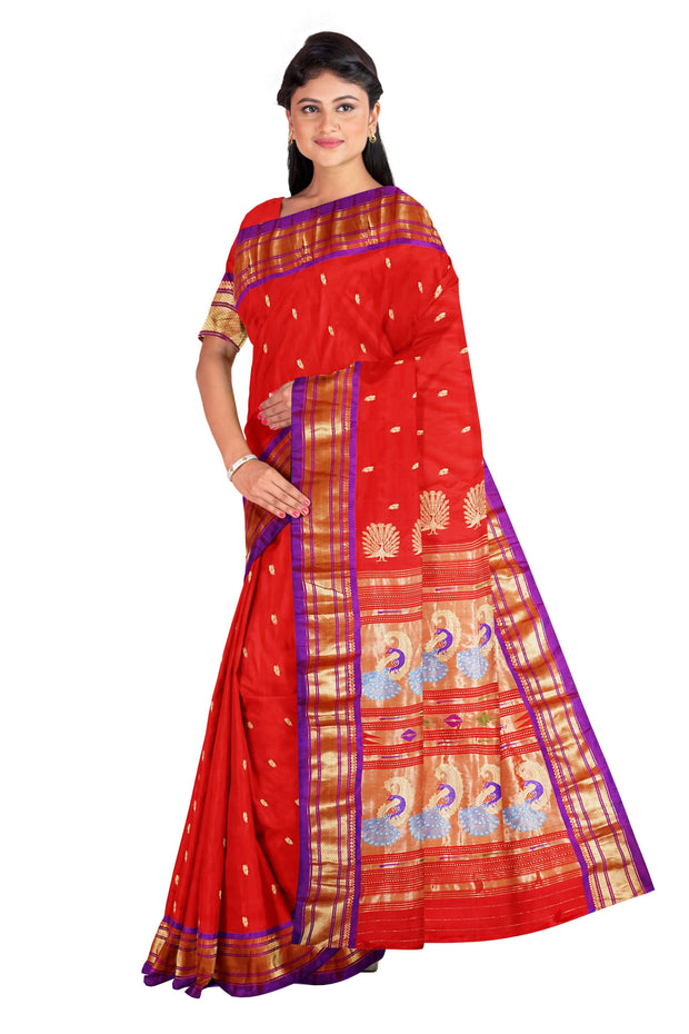 Red rich pallu paithani with purple border