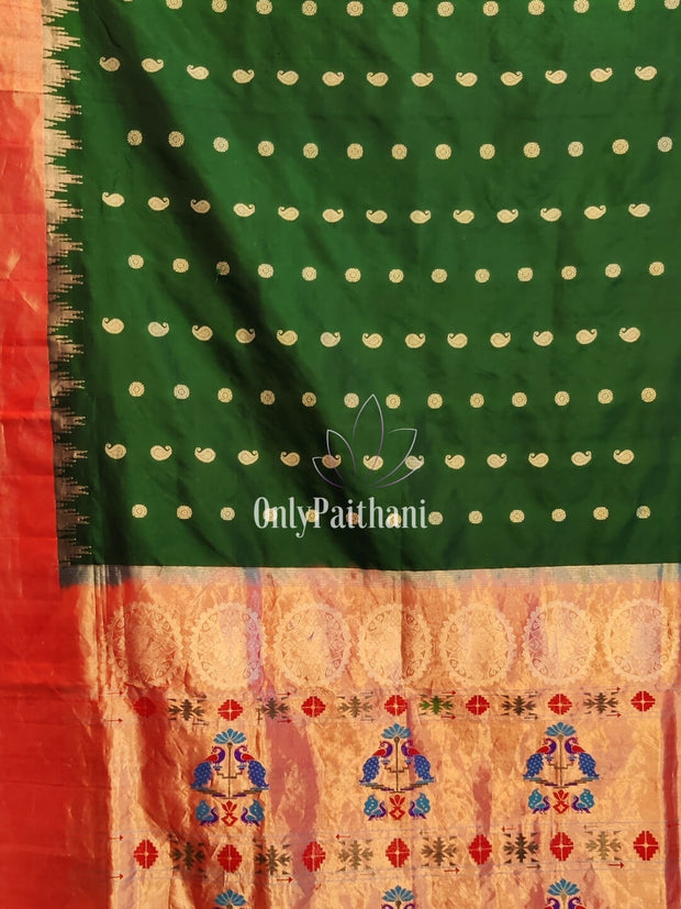 Bottle Green Tissue Border Paithani