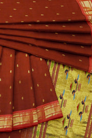 Maroon cotton paithani with red border