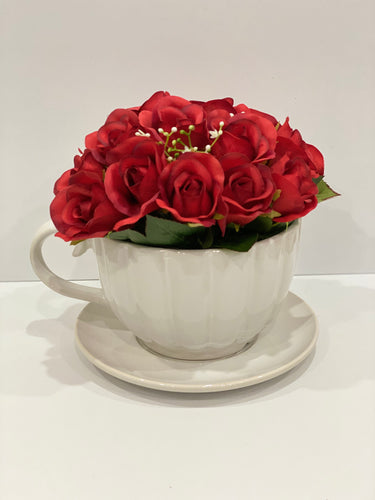 Floral Tea Cup - Large (Red)