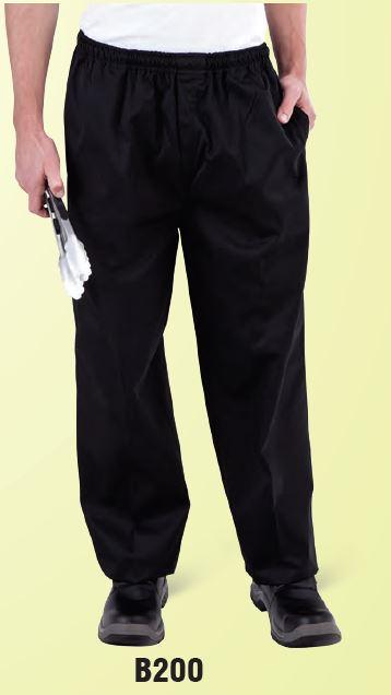 GLOBAL CHEF-DRAWSTRING PANTS - BLACK LARGE