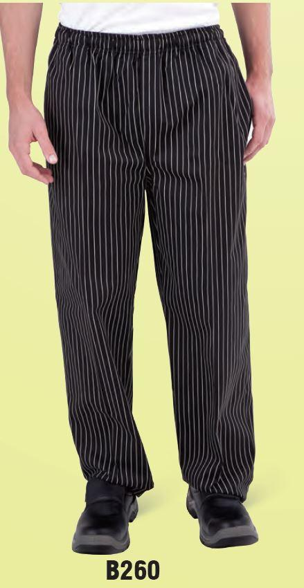 GLOBAL CHEF-DRAWSTRING PANTS - BLK/WHT PINSTRIPE - LARGE