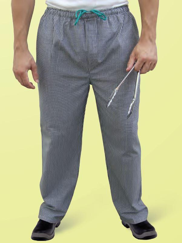 GLOBAL CHEF-BRIGADE DRAWSTRING CHECK PANTS - X LARGE