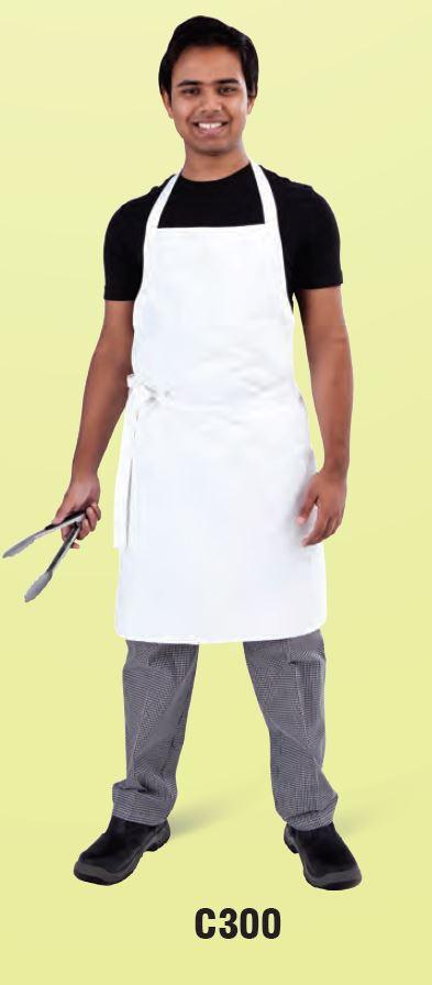 GLOBAL CHEF-BIB APRON - WHITE - (87 X 87CM)