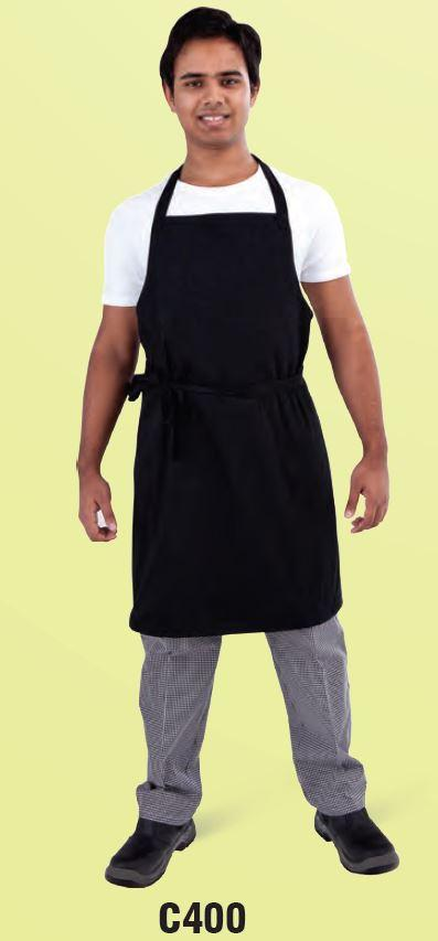 GLOBAL CHEF-BIB APRON - BLACK - (87 X 87CM)