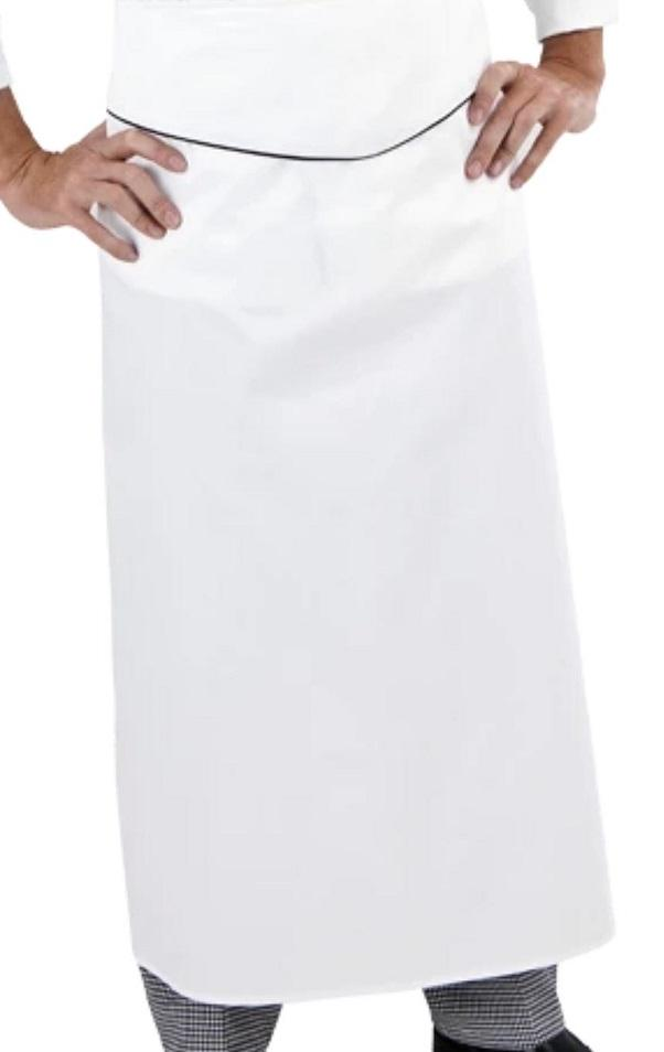 GLOBAL CHEF-EXTRA LONG - WHITE WAIST APRON W BLK TRIM