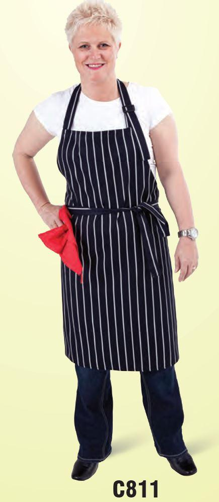 GLOBAL CHEF-BIB APRON - NAVY/WHITE STRIPE ADJ NECK
